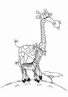 ausmalbild giraffe und zebra zum ausdrucken