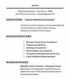 Carpentry Resume Sample Carpenter Resume Template 9 Free Samples Examples