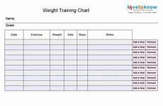 Free Weight Training Chart Workout Sheet Maker