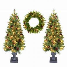 Fake Christmas Tree With Lights Home Accent Holiday Double 4 Ft Pot Tree Artificial