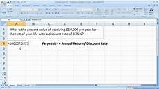 Excel Annuity Finance Basics 12 Perpetuity Calculation In Excel Youtube