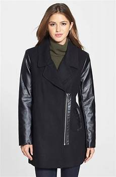 kensie coats for neumaticos kensie faux leather sleeve asymmetrical coat in black lyst