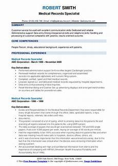 Medical Records Resume Sample Medical Records Specialist Resume Samples Qwikresume