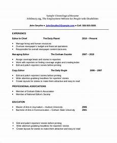 A Chronological Resumes Chronological Resume Template 23 Free Samples Examples