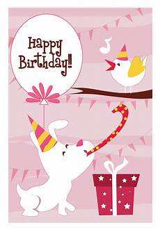 Printable Cards Online Happy Dog And A Bird Birthday Card Greetings Island