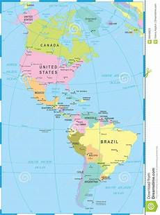 World Map Of North And South America North And South America Map Vector Illustration Stock