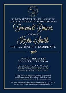 Farewell Dinner Invitation Letter Farewell Dinner For Honoring Kevin Smith Winter Springs