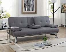 futon sofa with armrest and cupholders by home color