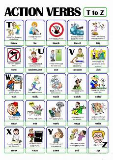 Action Verds Action Verbs 55 Slide Quiz Worksheet Free Esl