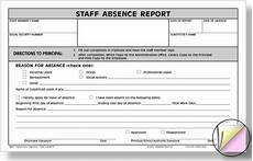 Employee Absence Report Hammond And Stephens 1017 3 Part Carbonless Staff Absence