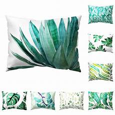 1pc tropical green leaves rectangle pillow cushion