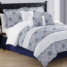 lucille 7 pc navy blue comforter bed set