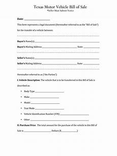 Bill Of Sale For Car In Texas Bill Of Sale Texas Fill Online Printable Fillable