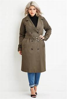 plus trench coats for racing lyst forever 21 plus size breasted trench coat in