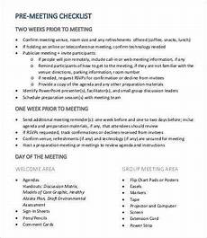 Meeting Checklist Template Meeting Checklist Template 17 Free Word Pdf Documents