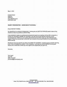 Resignation Letter Going Back To School Sample Resignation Letter Going Back To School Template