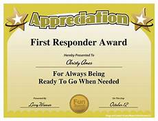 Fun Certificates For Employees First Responder Award Work Employee Awards Award