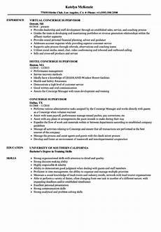 Concierge Resume Examples Concierge Supervisor Resume Samples Velvet Jobs