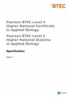 rma qualification btec higher nationals applied biology 2010 qcf pearson