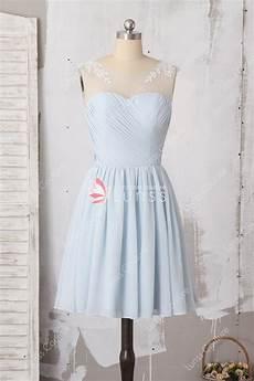 Light Blue Dress Cap Sleeves Beautiful Lace Appliqued Cap Sleeve Light Blue Chiffon