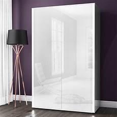 white high gloss 2 door wardrobe led lights modern