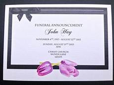 Funeral Invitation Sample 25 X Personalised Funeral Announcement Invitation Cards