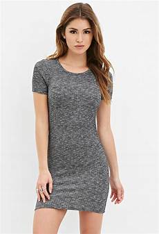 lyst forever 21 ribbed knit bodycon dress in gray