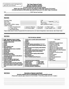 Special Incident Report Form California Editable Example Of Accident Report In Technical Writing