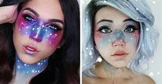 galaxy makeup creates the swirling cosmos across the skin
