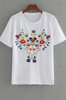 white floral embroidery sleeve casual top