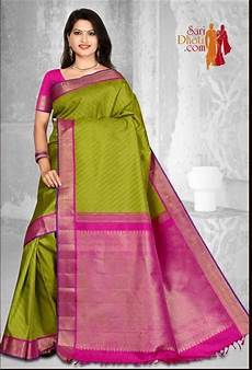 Light Green With Pink Saree Parrot Green Color Body With Pink Color Korvai Border