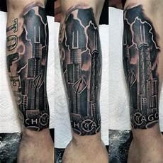 Urban Sleeve Designs 90 Building Tattoos For Men Architecture Ink Design Ideas