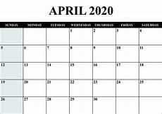 2020 Blank Calendar Pdf April 2020 Calendar With Holidays Free Printable