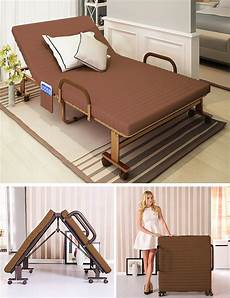 metal fold up guest visitor bed with mattress foldable