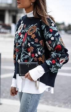 embroidery fashion embroidered sweatshirt white shirt denim fall