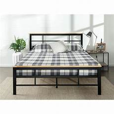 zinus metal and wood black king platform bed frame