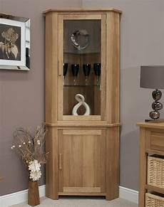 solid oak furniture corner display cabinet unit