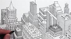 City Building Sketches How To Draw A City In 3d Planometric Drawing Youtube