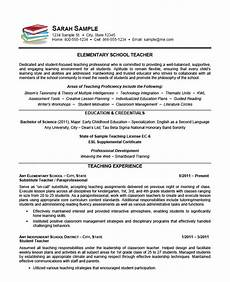 Primary School Teacher Resumes Elementary School Teacher Resume Example Sample