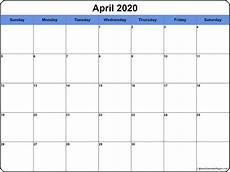 Printable Agenda Calendar 2020 April 2020 Calendar Free Printable Monthly Calendars