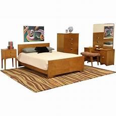 midcentury modern 5 pc curly birdseye maple bedroom set
