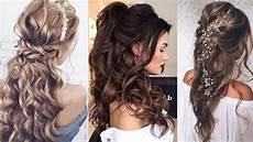half up half down long hair wedding hairstyles youtube