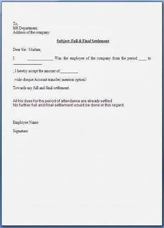 Letter For Final Payment Full And Final Settlement Acceptance Letter