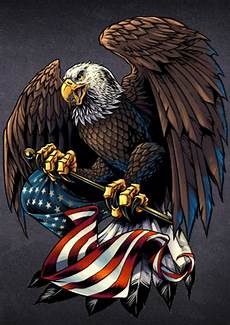 Allen Eagle Designs Large Size 10 Inches Eagle Holding Usa Flag Decal With