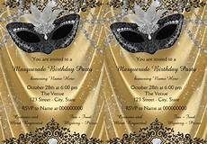 Masquerade Invitation Sample Fancy Black And Gold Masquerade Party Card
