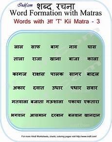 Hindi Matra Words With Pictures Chart Learn To Read Hindi Words With Matras