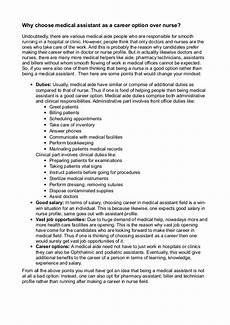 Essay On Medical Assistant Why Choose Medical Assistant As A Career Option Over Nurse