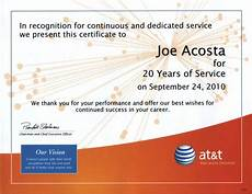 Years Of Service Certificate 20 Years Of Service Recognition Certificate