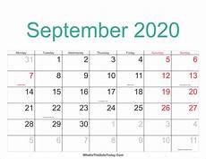 Calendar 2020 September Printable September 2020 Calendar Printable With Holidays