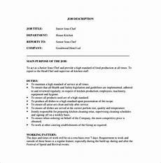 Head Cook Job Description Sous Chef Job Description Template 16 Free Word Pdf